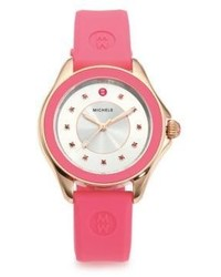 Michele Watches Cape Pink Topaz Rose Goldtone Stainless Steel Silicone Strap Watchpink