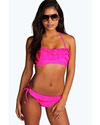Boohoo Rome Ruffle Bandeau Bikini