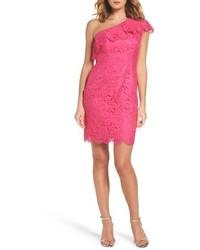 Eliza J Ruffle Lace One Shoulder Sheath Dress