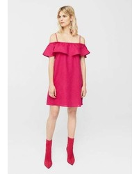 Mango Ruffled Off Shoulder Dress