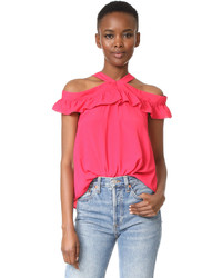 Moschino Boutique Off Shoulder Ruffle Blouse