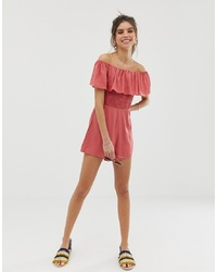 ASOS DESIGN Off Shoulder Ruffle Playsuit With Shirring