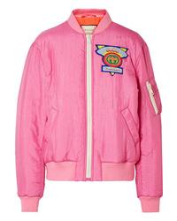Gucci Appliqud Satin Shell Bomber Jacket