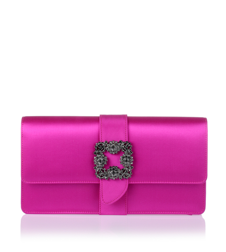 Manolo Blahnik Capri Fuchsia Satin Clutch | Where to buy & how to wear