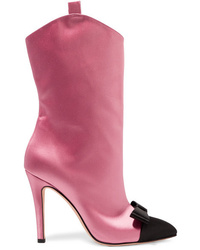 Alessandra Rich Ed Two Tone Satin Ankle Boots