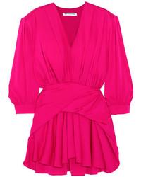 Balenciaga Gathered Silk Blend Satin Mini Dress Pink