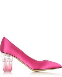 Charlotte Olympia Tequila Sunrise Fiesta Pink Satin Silk Pump