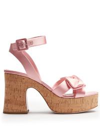 Miu Miu Bow Detail Satin Platform Sandals
