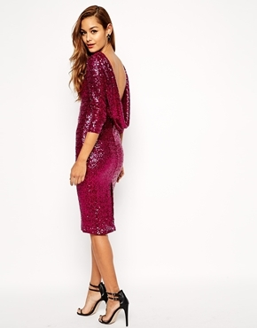 374d0012 ... Pink Sequin Sheath Dresses Asos Collection Sequin Cowl Back Midi Dress  ...
