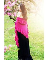 Aprilmarin Pink Cotton Ruffle Shawl
