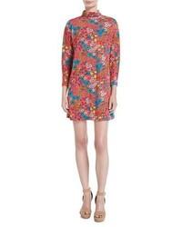 Marc Jacobs Brite Blossom Mock Neck Shift Dress Pink