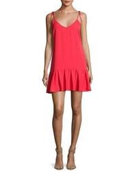 Amanda Uprichard Odessa Sleeveless V Neck Shift Dress Pink