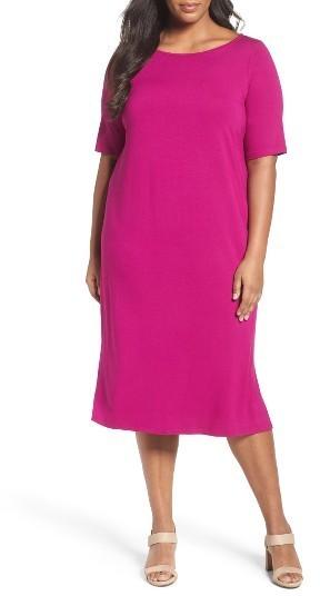 $208, Eileen Fisher Plus Size Jersey Shift Dress