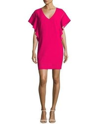 Trina Turk Flutter Sleeve Classic Crepe V Neck Shift Dress Pink Clash