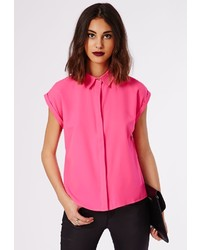 Missguided Ellessa Short Sleeve Shirt Hot Pink