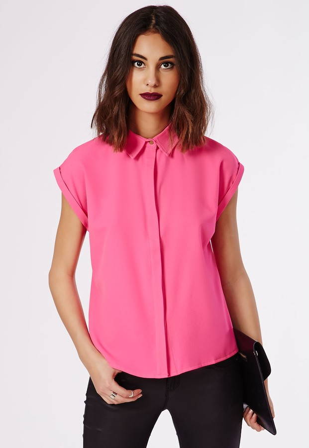 Missguided Ellessa Short Sleeve Shirt Hot Pink Where To