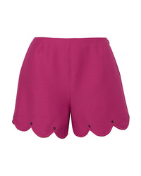 Valentino Studded Scalloped Wool And Silk Blend Crepe Shorts