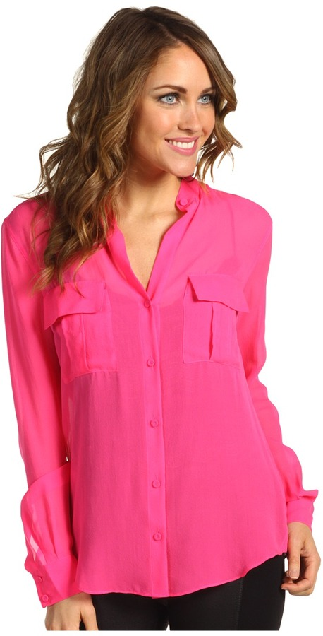 Womens Hot Pink Blouses Collar Blouses
