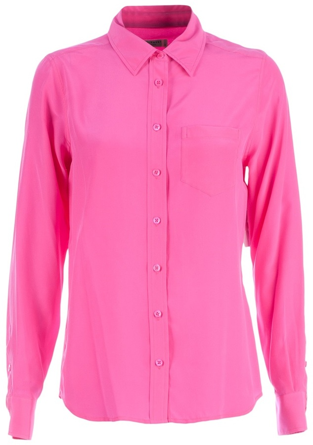 35e3d44d68f2f ... Hot Pink Silk Button Down Blouses Equipment Brett Shirt