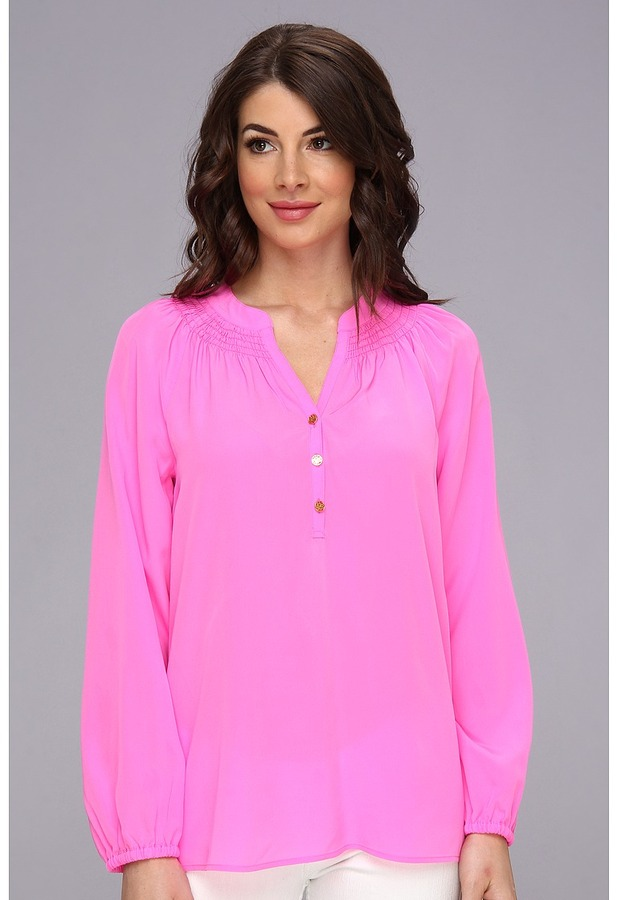 20552a8b0ebc4c ... Hot Pink Silk Button Down Blouses Lilly Pulitzer Elsa Top Blouse ...