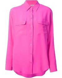 Hot Pink Silk Button Down Blouse Burberry Oversize Silk