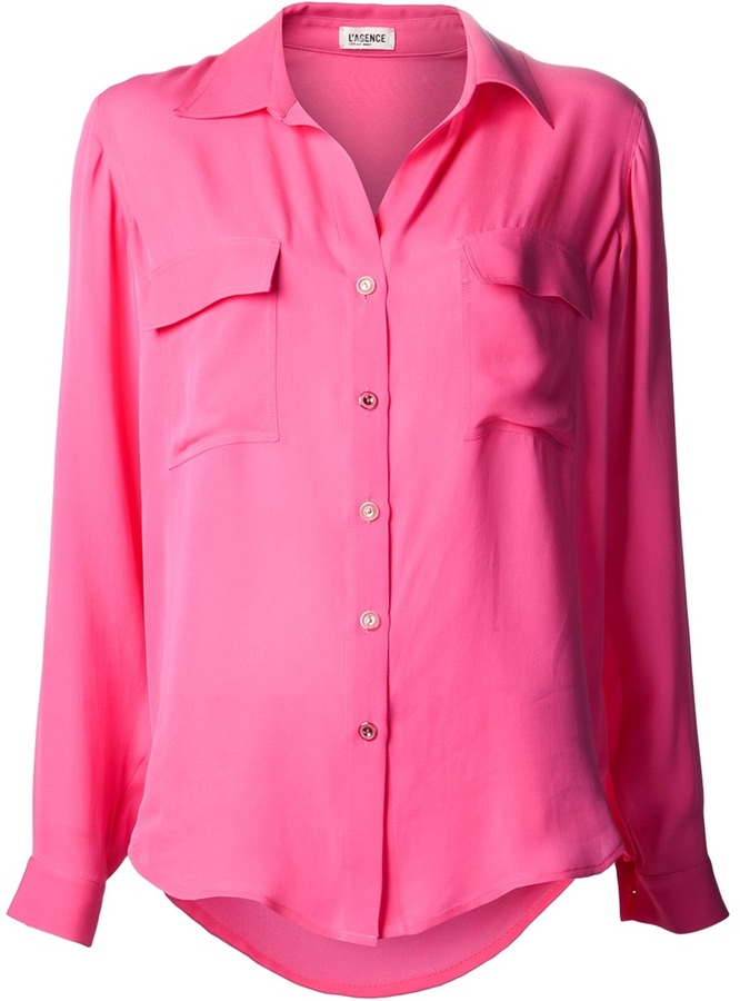 ce8d146b25735 ... Hot Pink Silk Button Down Blouses L Agence Pocket Classic Collar Blouse