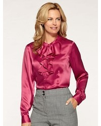 f2ec2fac054bc Hot Pink Silk Button Down Blouses for Women