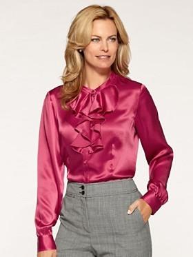 233b0b9e815df ... Hot Pink Silk Button Down Blouses Pendleton Giselle Silk Blouse