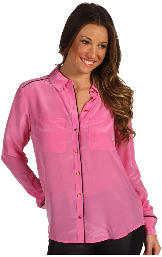 2a8410826bd7d ... Hot Pink Silk Button Down Blouses Juicy Couture Silk Cdc Shirt ...