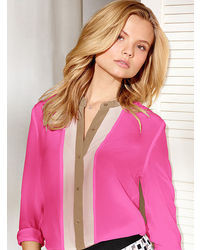 Hot pink silk button down blouse for women lookastic for for Victoria secret button down shirt