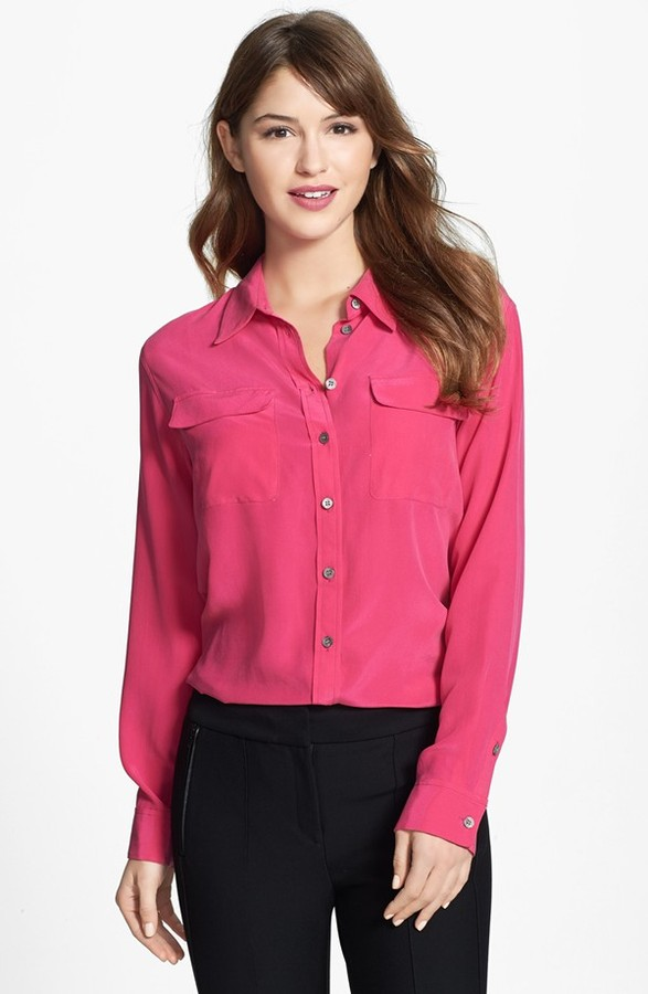 Vince camuto silk blouses long blouse with pants for Silk button down shirt
