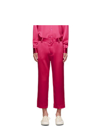 Sies Marjan Pink Crinkled Satin Cropped Alex Trousers