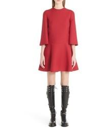 Valentino Wool Silk Crepe Flare Dress