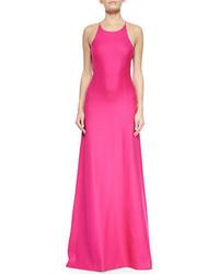 Michael Kors Michl Kors Collection Halter Neck Sleeveless Silk Gown