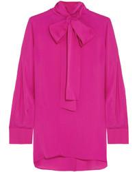 5566919e8fd6f ... Gucci Pussy Bow Silk Crepe De Chine Shirt Fuchsia