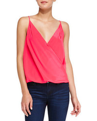 Amanda Uprichard Crossover Draped Charmeuse Tank Top Electric Rouge