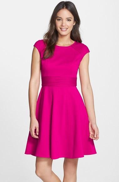 d7eb281dff26 ... Eliza J Pintucked Waist Seamed Ponte Knit Fit Flare Dress ...