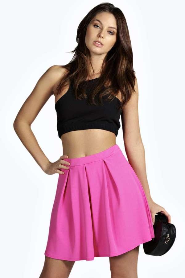 5cb63280d Boohoo Jessica Box Pleat Skater Skirt, $16 | BooHoo | Lookastic.com