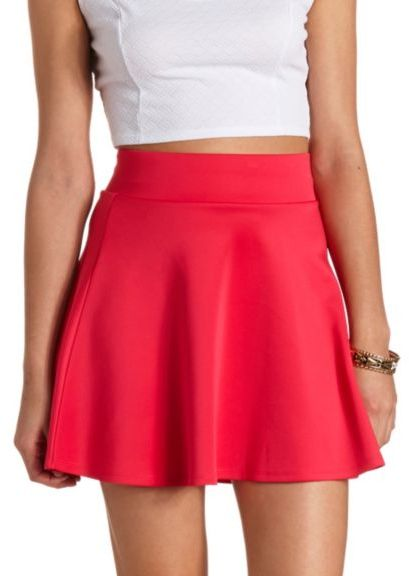 pink skater skirt russe solid high waisted