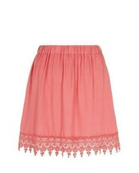 Exclusives new look pink crochet trim skater skirt medium 547312