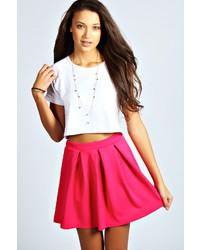 Boohoo Tianna Box Pleat Colour Pop Skater Skirt