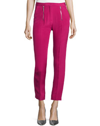 CNC Costume National Costume National Zip Front Slim Leg Cropped Trousers Pink