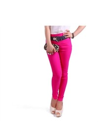 HDE High Waisted Tight Skinny Stretch Pants Hot Pink