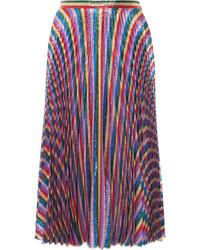 Gucci Pliss Lurex Midi Skirt Pink