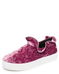 Opening Ceremony Cici Velvet Ruffle Slip On Sneakers