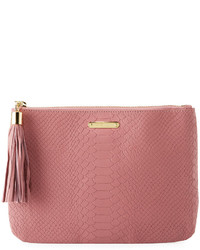GiGi New York All In One Snake Embossed Clutch Bag Pink