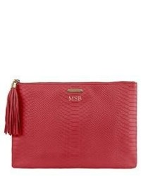 Personalized uber python embossed leather clutch medium 634810