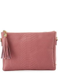 GiGi New York Hailey Snake Embossed Crossbody Bag Pink