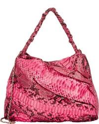 Zagliani Python Frida Shoulder Bag Pink