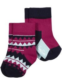 Happy Socks 2 Pk Zig Zag Anklet Hot Pink 6 12 Months